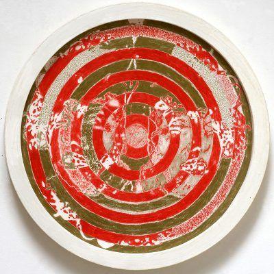 Interface - dessin au crayon rouge sur arche 400g - diam. 50cm - 2012