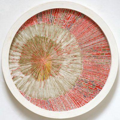 Refaire Surface - dessin au crayon rouge sur arche 400g - diam. 50cm - 2012