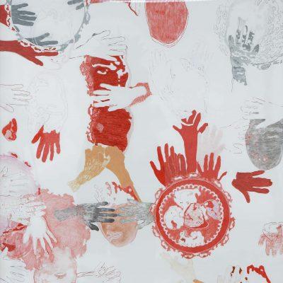 se cacher derrière ses mains - dessin - 165 x 128  cm - 2013